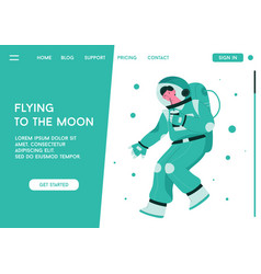 Landing page flying to moon concept vector