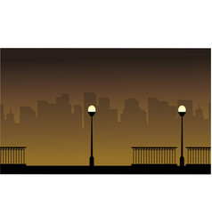 Landscape street lamp with city silhouettes vector