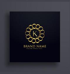 letter k premium golden logo design concept vector image