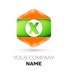 Letter x logo in the colorful hexagonal vector
