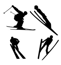 Long jump on skis silhouette vector