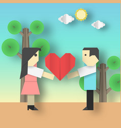 Love origami concept card vector
