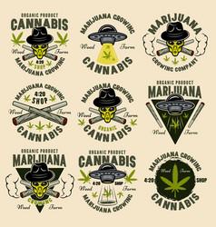 Marijuana growing set nine color emblems vector