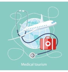 Medical Tourism Icon of Traveling and Treatment vector image