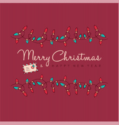 merry christmas and new year red ornament card vector image