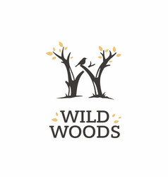 Modern professional sign logo wild woods vector
