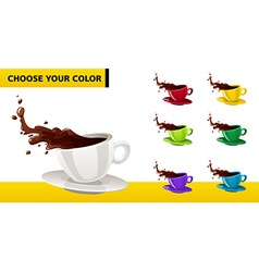multicolor coffee cup with liquid splashes and vector image