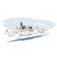 nashville tennessee usa america sketch city line vector image