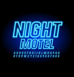 neon banner night motel with glowing font vector image