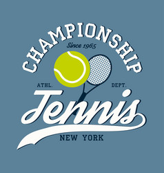 new york tennis apparel with racket and ball vector image