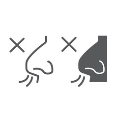 No smell symptom line and glyph icon infection vector