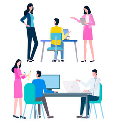 Office worker sit at table discuss business issues vector