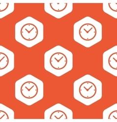 Orange hexagon clock pattern vector image