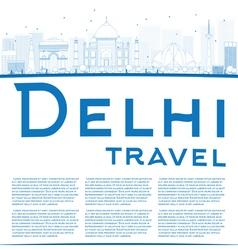 Outline Delhi skyline with blue landmarks vector image