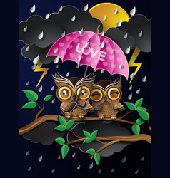 owl holding an umbrella in the rain vector image