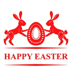 Pair bunny easter red vector