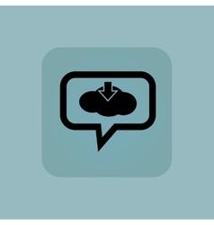 Pale blue cloud download message vector