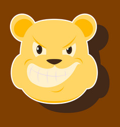 Paper sticker on theme evil animal angry bear vector