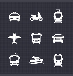 passenger transport icons set bus subway tram vector image