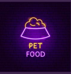 Pet food neon label vector