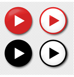 play button icons set isolated transparent vector image