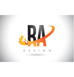 Ra r q letter logo with fire flames design and vector
