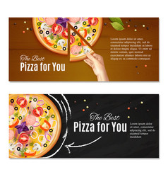 realistic pizza horizontal banners vector image