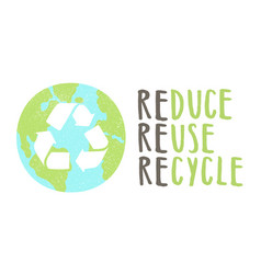 reduce reuse recycle lettering and earth sign vector image