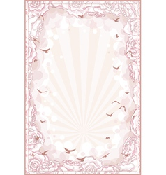 Romantic background with hand drawn roses frame vector image