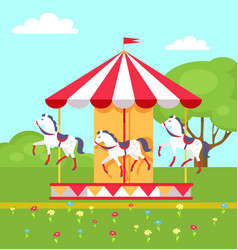 Rotating horses carousel in city park vector