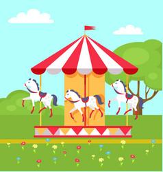 Rotating horses carousel in city park vector