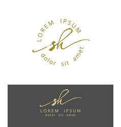 s h handdrawn brush monogram calligraphy logo vector image