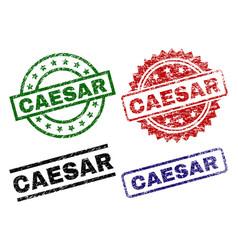 Scratched textured caesar stamp seals vector