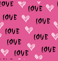 seamless pattern with sketch hearts and love vector image