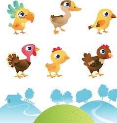 Set of different birds vector