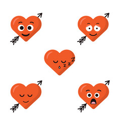 Set of five heart expression cartoon character vector