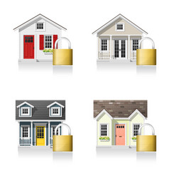 set of small houses and padlocks vector image