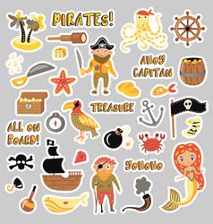set pirates cartoon stickers adventures vector image