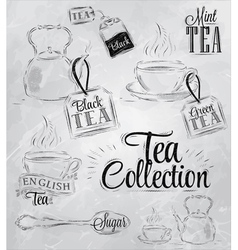 Set Tea Collection coal vector