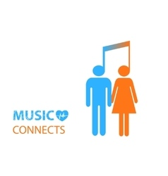 Share - two people listening to the same music vector
