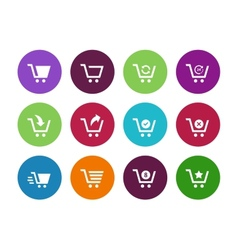 Shopping cart circle icons on white background vector image