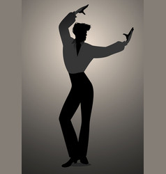 silhouette of spanish flamenco dancer man vector image