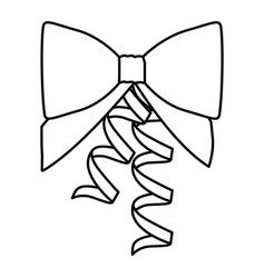 silhouette ribbon with holding bow vector image