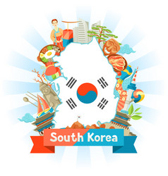 South korea map design korean traditional symbols vector