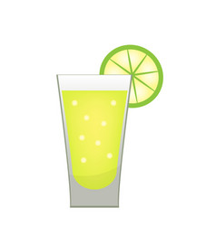 Stack of tequila with a lime slice icon flat vector