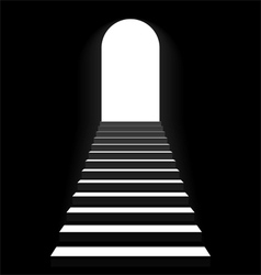 Staircase to arch door vector