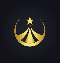 Star round business gold logo vector