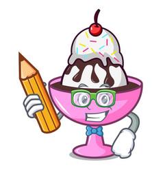 Student ice cream sundae character cartoon vector