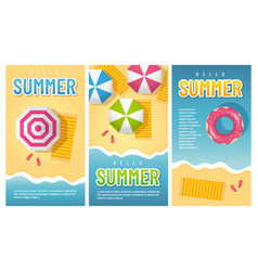 summer beach vertical banner templates vector image