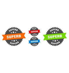Superb sign round ribbon label set seal vector